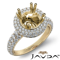 Halo Pave Set Diamond Engagement Round Semi Mount 14k Gold Yellow Ring  (1.25Ct. tw.)