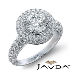 3 Row Shank Halo Micro Pave Round diamond engagement Ring in 14k Gold White