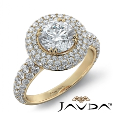 3 Row Shank Halo Micro Pave Round diamond engagement Ring in 14k Gold Yellow