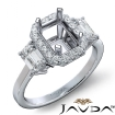 3 Stone Halo Diamond Engagement Emerald Semi Mount 14k White Gold Ring 0.78Ct - javda.com