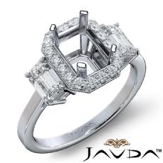 3 Stone Halo Diamond Engagement Emerald Semi Mount 14K White Gold Ring 0.73Ct.
