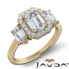 3 Stone Basket Halo Micro Pave diamond Ring 14k Gold Yellow