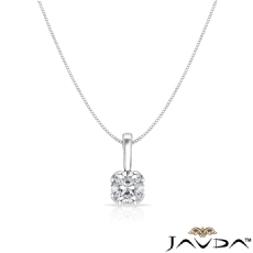 Filigree Basket Solitaire Cushion diamond  Pendant in 18k Gold White