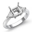 Diamond Engagement Three Stone Trillion Princess Setting Ring 14k White Gold 0.55Ct - javda.com