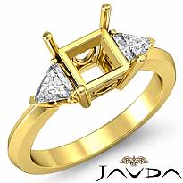 Diamond Engagement Three Stone Trillion Princess Setting Ring 18k Gold Yellow  (0.55Ct. tw.)