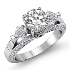 Kite Style Wedding 3 Stone Round diamond engagement Ring in 14k Gold White