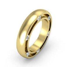 Men's Bezel Round Side Diamond Eternity Dome Wedding Band 14k Gold Yellow  (0.25Ct. tw.)