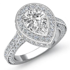Circa Halo Pave Side-Stone Pear diamond engagement Ring in 14k Gold White