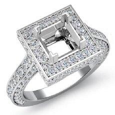 1.60Ct Diamond Engagement Halo Setting Ring Princess Semi Mount 14K White Gold