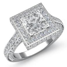 Pave Set Circa Halo Filigree Princess diamond engagement Ring in 14k Gold White