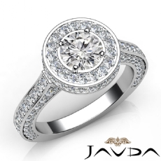 Circa Halo Side-Stone Pave Round diamond engagement Ring in 14k Gold White