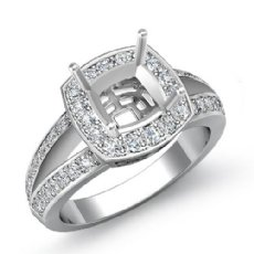 Diamond Engagement Ring 14k White Gold Cushion Semi Mount Halo Setting 0.60Ct