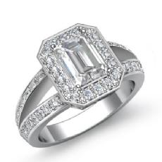 Halo Split Shank Filigree Emerald diamond engagement Ring in 14k Gold White