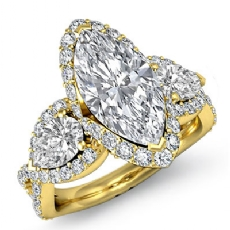 3 Stone Halo Micro Pave Set Marquise diamond engagement Ring in 14k Gold Yellow