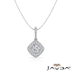 Halo Pave Diamond Bail Cushion diamond  Pendant in 14k Gold White