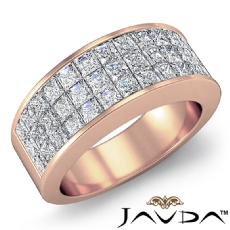 Womens Princess Invisible Diamond Half Wedding Band Ring 14k Rose Gold  (1.75Ct. tw.)