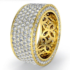 Women's Eternity 5 Row Band Pave Set Diamond Engagement Ring 18k Gold Yellow  (4Ct. tw.)