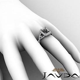 1.5CT Diamond Engagement Ring Radiant Semi Mount 14K White Gold Halo Setting