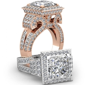 Antique Vintage Circa Halo diamond Ring 14k Rose Gold