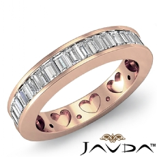 Channel Baguette Diamond Womens Half Wedding Heart Band Ring 14k Rose Gold  (1Ct. tw.)