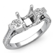 Round Diamond Three Stone Engagement Ring Prong Setting 14k White Gold SemiMount 1Ct - javda.com
