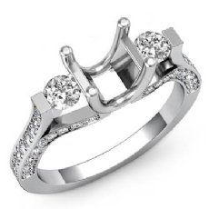 Round Diamond Three Stone Engagement Ring Prong Setting 14k W Gold SemiMount 1Ct