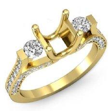 Round Diamond Three Stone Engagement Ring Prong Setting 18k Gold Yellow SemiMount  (1Ct. tw.)