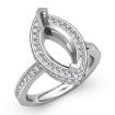 0.9Ct Diamond Engagement Marquise Semi Mount Ring 14k White Gold Halo Setting - javda.com