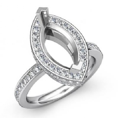 0.90Ct Diamond Engagement Marquise Semi Mount Ring 14k White Gold Halo Setting