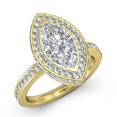 Pave Setting Side Halo Marquise diamond engagement Ring in 18k Gold Yellow