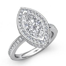 Pave Setting Side Halo Marquise diamond engagement Ring in 14k Gold White