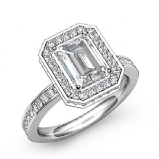 Circa Basket Halo Pave Set Emerald diamond engagement Ring in 14k Gold White