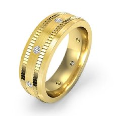 Ribbed Edges Matte Diamond Eternity Men's Wedding Band 18k Gold Yellow  (0.16Ct. tw.)