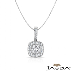 Claw Prong Halo Pave Bail Cushion diamond  Pendant in 14k Gold White
