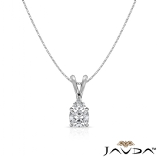 Double Bail Prong Solitaire Cushion diamond  Pendant in 14k Gold White