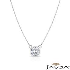 Bezel Set Basket Solitaire Cushion diamond  Pendant in 14k Gold White