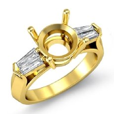 Baguette Round Diamond Three 3 Stone Engagement Ring Semi Mount 18k Gold Yellow  (0.5Ct. tw.)