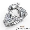 Pear Diamond Three 3 Stone Anniversary Setting Ring 14k White Gold Semi Mount 1.4Ct - javda.com