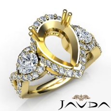 Pear Diamond Three 3 Stone Anniversary Setting Ring 14k Gold Yellow Semi Mount  (1.5Ct. tw.)