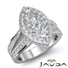 Split Shank Pave Set Halo Marquise diamond engagement Ring in 14k Gold White