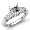 Princess Baguette Diamond Three 3 Stone Engagement Setting Ring 14k White Gold 0.45Ct - javda.com