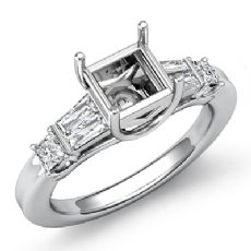 Princess Baguette Diamond Three 3 Stone Engagement Setting Ring 14k W Gold 1/2Ct