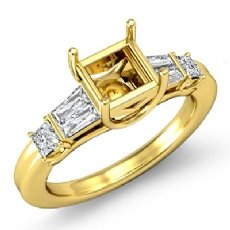 Princess Baguette Diamond Three 3 Stone Engagement Setting Ring 18k Gold Yellow  (0.45Ct. tw.)