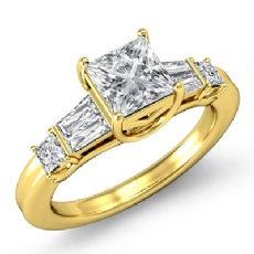 Baguette Classic 3 Stone Princess diamond engagement Ring in 14k Gold Yellow