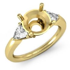 Three Stone Diamond Engagement Trillion Round Semi Mount Ring 18k Gold Yellow  (0.55Ct. tw.)