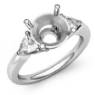 Three Stone Diamond Engagement Trillion Round Semi Mount Ring 14k White Gold 0.55Ct - javda.com