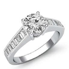 Channel Set Baguette Round diamond engagement Ring in 14k Gold White