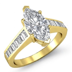 Channel Set Baguette Marquise diamond engagement Ring in 14k Gold Yellow