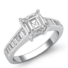 Baguette Channel Set 4 Prong Asscher diamond engagement Ring in 14k Gold White