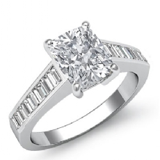 Baguette Channel Sidestone Cushion diamond engagement Ring in Platinum 950